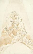 GENOESE SCHOOL, (17TH CENTURY), SEATED FIGURE WITH PUTTI