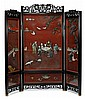 Fine Chinese cinnabar lacquer jade mounted and hardwood framed three-panel floor screen, , The screen entitled