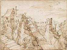 TOBIAS VERHAECHT, (FLEMISH 1561-1631), FORTRESS IN A MOUNTAINOUS LANDSCAPE