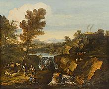 ITALIAN SCHOOL, (17TH-18TH CENTURY), FIGURES IN AN EXTENSIVE LANDSCAPE