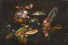 ITALIAN SCHOOL, (17TH CENTURY), STILL LIFE OF FLOWERS, BIRDS AND WATERMELON