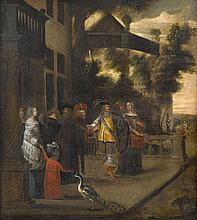 CIRCLE OF HIERONYMOUS (DEN DANSER) JANSSENS, (FLEMISH 1624-1693), AN ELEGANT PARTY ON THE TERRACE WITH A PALACE IN THE BACKGROUND