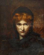 JEAN JACQUES HENNER, (FRENCH 1829-1905), MYSTERIOUS WOMAN