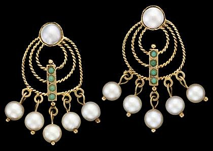 14 karat yellow gold and pearl drop earrings, , Twisted rope design, accented by four petite turquoise and five pearl drops, beneath a