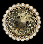 14 karat yellow gold and citrine brooch, , Large round cut citrine set within cultured pearl surround.
