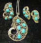 18 karat yellow gold and turquoise ring, earrings and pendant, , All of open scrolling design.