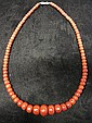 Oxblood coral bead necklace, , Graduated round beads.