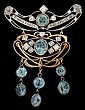 Platinum, 10 karat yellow gold, diamond and zircon brooch, , Featuring an oval and round cut blue zircon with round cut diamonds set th
