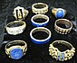 Group of 14 karat yellow gold and sterling silver rings, , Various miscellaneous pieces, nine pieces total.