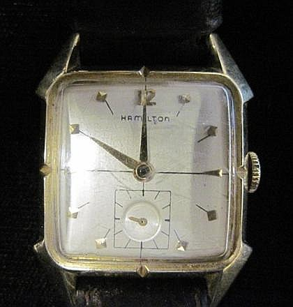 Gold fill wrist watch, Hamilton, , Rectangular case, off-white face with dot and dash dial, signed by the maker, displays subsidiary se