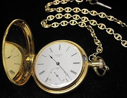 18 karat yellow gold pocket watch, Jules Jaccard, , Circular case, white enamel face with Roman numeral and dash dial, displays subsidi