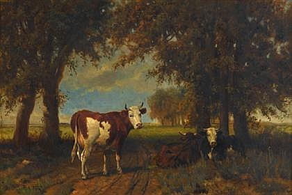 ROBERT ATKINSON FOX, (AMERICAN1860-1935), CATTLE IN THE SHADE