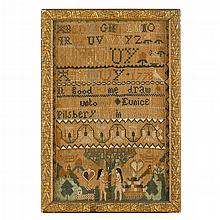 Needlework sampler, eunice pilsbery (1777-1856), newburyport, ma, late 18th century