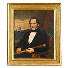 Attributed to Joseph Whiting Stock (1815-1855), portrait of a sea captain of new bedford, ma, circa 1847