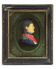 French School 19th century, miniature wax profile portrait of napoleon (1769-1821)
