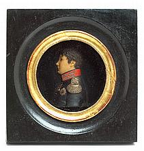 French School 19th century, miniature wax profile of a french officer