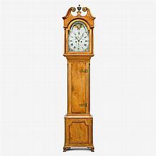Chippendale figured maple tall case clock, christian bixler (1763-1840), northampton county, pa, circa 1790