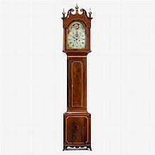 Federal inlaid mahogany tall case clock, samuel breneiser, adamstown and reading, pa, circa 1800