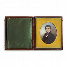 Theodore Lund (Danish/American, 1810-1895), miniature portrait of a young gentleman of new york