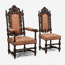 Victorian carved walnut parlor suite, in the manner of alexander roux (active new york city, 1836–1880), circa 1880