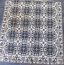 Blue and white jacquard coverlet, john conger, southport, new york, dated 1832