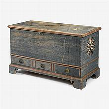 Painted and decorated dower chest, adams county, pa, circa 1800