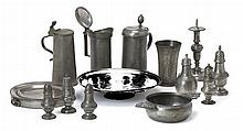 Group of pewter table items, english and continental, 17th/18th/19th century