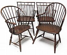 Four Windsor armchairs, philadelphia and lancaster, pa, late 18th/early 19th century
