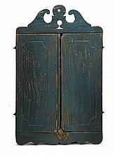 Blue-painted pine hanging cupboard, 19th century