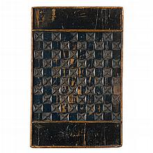 Two carved and painted pine gameboards, one from quebec, canada, late 19th century