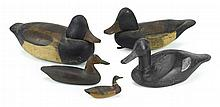 Two carved and painted miniature decoys and two carved and painted blue-billed drakes, new jersey, early 20th century