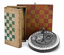 Three polychrome painted gameboards, 19th/20th century