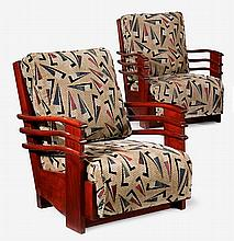 Pair of Art Deco mahogany lounge chairs from the Normandie Hotel, San Juan, Puerto Rico, circa 1938