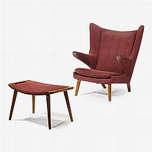 Hans Wegner (1914-2007), papa bear chair and ottoman, a.p. stolen, denmark, 1950