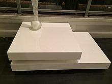 Two contemporary white lacquer low tables,