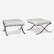 Pair of contemporary Barcelona style white leather and chromed steel ottomans, after a design by mies van der rohe, alivar, italy