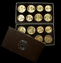 Two 1980 American Arts Commemorative Series Gold Medallion sets