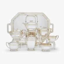 Fine and rare sterling silver and gold-inlaid tea and coffee service, Tiffany & Co., New York, NY, circa 1929