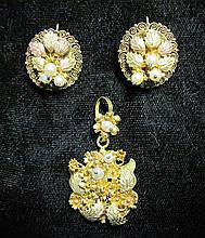 10 karat yellow, rose and green gold, and pearl earrings and pendant, , Textured green and rose gold 'leaves', accented by petite round