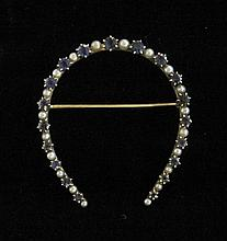 14 karat yellow gold, pearl and sapphire 'horseshoe' pin, , Alternating petite round cut sapphires and round cultured pearls.