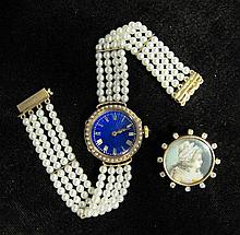 Lady's yellow gold, enamel and pearl dress watch and diamond portrait pin, , 18 karat yellow gold watch with round blue guilloche enam