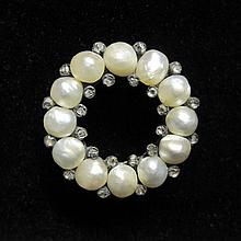 Antique pearl and diamond circle pin, , Off-round pearls accented by petite point cut diamonds.