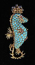 18 karat yellow gold 'seahorse' brooch, , Petite round cabochon turquoise set 'body', petite round cut ruby 'eye', polished gold 'fins