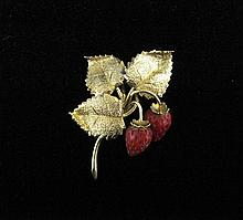 18 karat yellow gold 'strawberries' pin, italy, Textured gold 'leaves' featuring detailed red 'strawberries'.