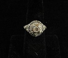 Edwardian platinum, diamond and sapphire ring, , Center round cut diamond approximately 0.50 carats accented by petite calibre cut sapp