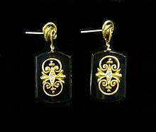 Victorian 14 karat yellow gold onyx and diamond earrings, , Onyx drops, accented by gold and petite round cut diamond, French post back
