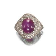 An Art Deco star ruby, diamond and platinum ring,