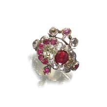 A Victorian diamond, ruby, fourteen karat gold and silver sweetheart's ring, circa 1894