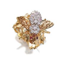 A diamond, synthetic ruby and eighteen karat gold ring brooch,