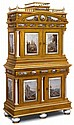 Very fine gilt metal mounted Meissen porcelain and gilt metal mounted giltwood secretaire cabinet, circa 1880, Of architectural form an